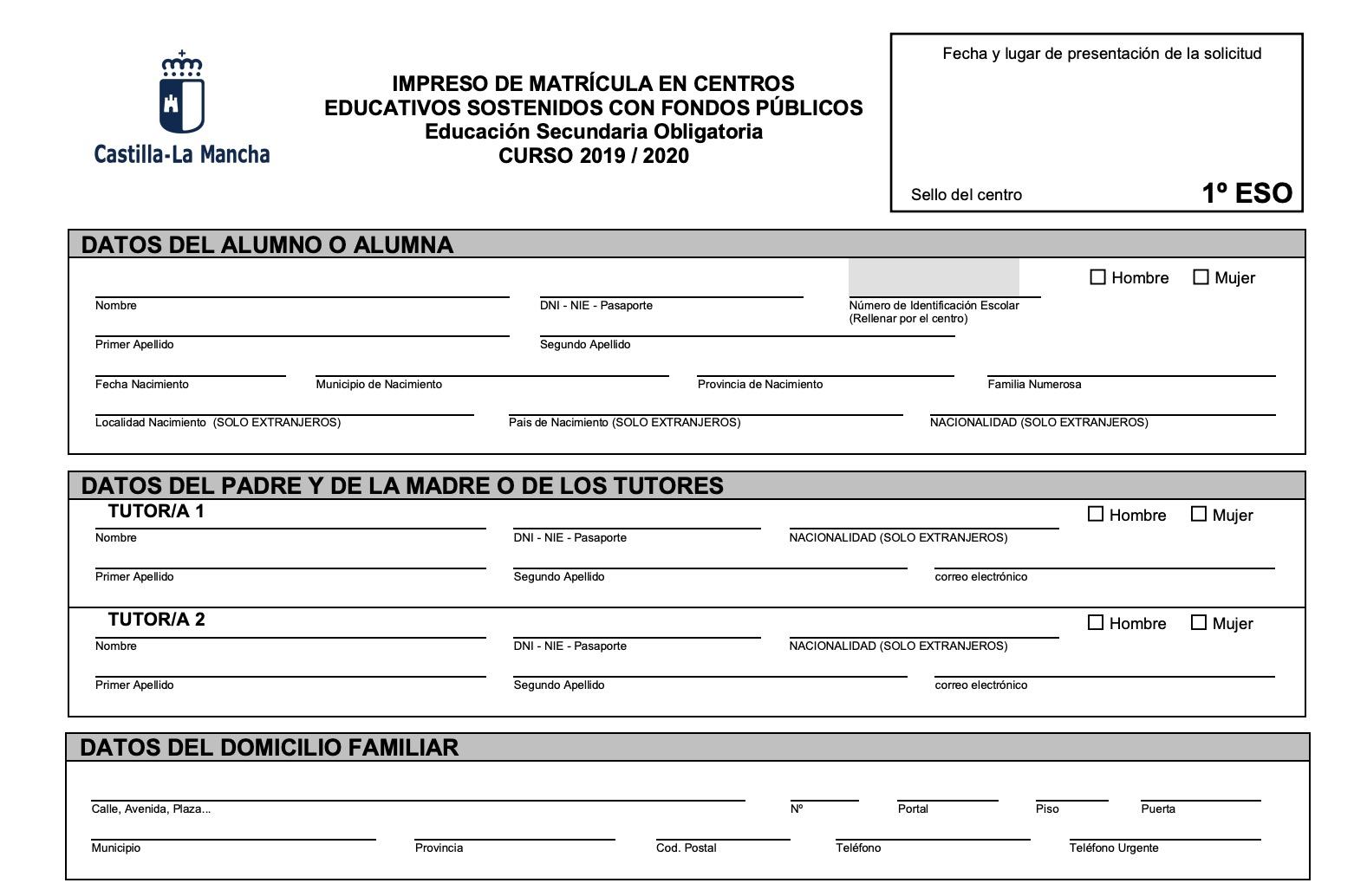 Calendario Lineal.Calendario De Matricula 2019 2020 Ies Parque Lineal